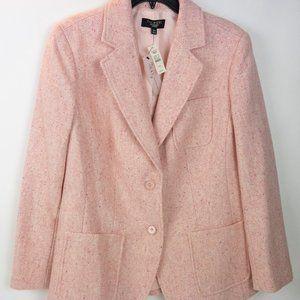 NWT Talbots Woman Light Pink Tweed Blazer Size 12W